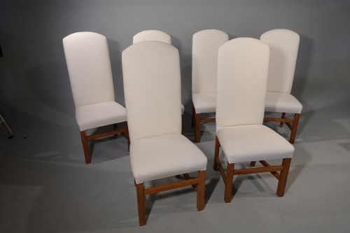 A Modern Set of 6 High Backed Chairs of Chippendale Design