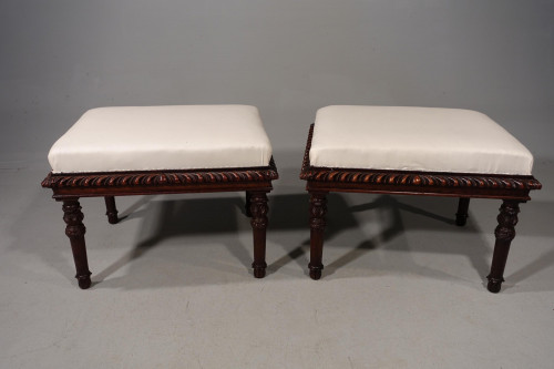 An Attractive Pair of Mid 19th Century Rectangular Shaped Stools