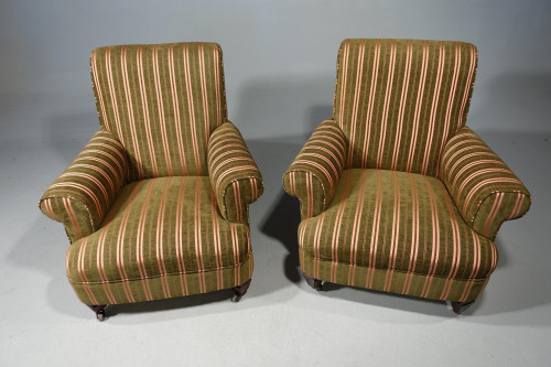 A Handsome Pair of Early 20th Century Mahogany Framed Drawing Room Chairs