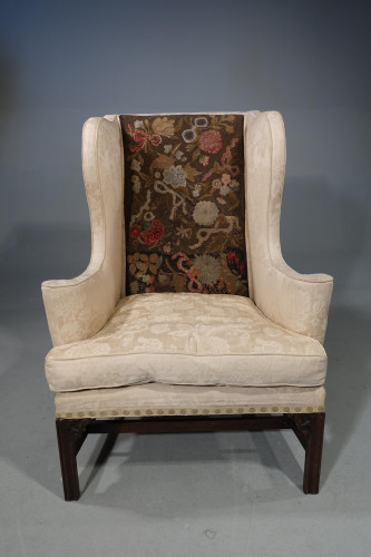 A George III Period Mahogany Framed Wing Chair