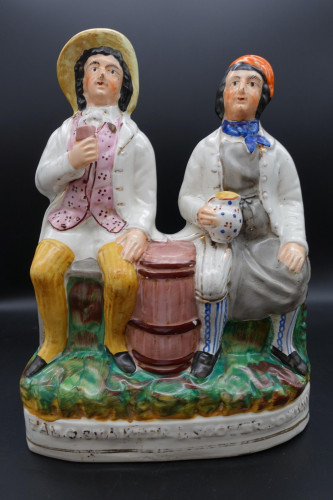 A Late 19th Century Staffordshire Figure of Tam O Shanter and Souter Johnny