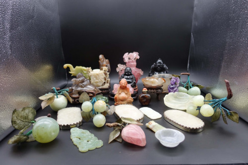 A Most Unusual Collection of 28 Chinese Figures in Hard Stones, Jade and Rose Quartz