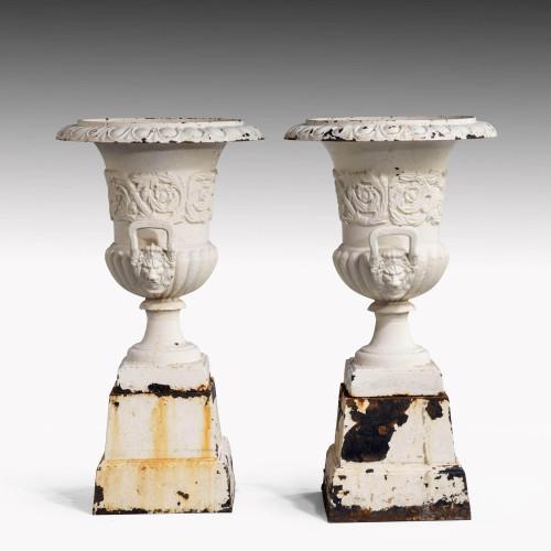 A Good Pair of Mid 19th Century Cast-Iron Campana Urns