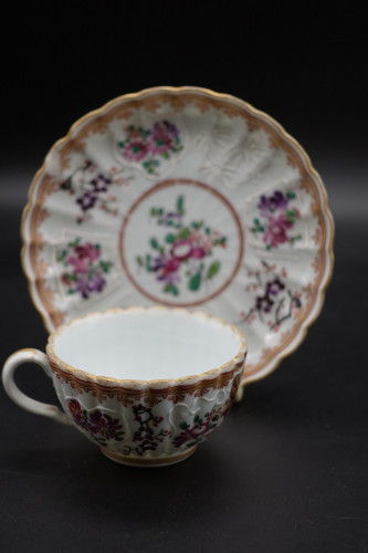 An Early 20th Century Ribbed Cup and Saucer by Samson of Paris