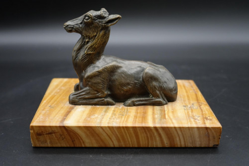 A Well Modelled Early 20th Century Continental Bronze Model of a Recumbent Goat