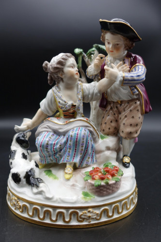 A Fine Late 19th Century Meissen Model of Two Young Children and a Dog