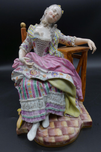 A Fine late 19th Century Meissen Model of a Seated Young Lady