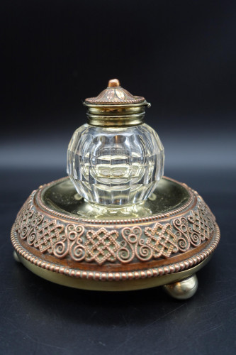 A Finely Cast Early 20th Century French Copper, Bronze and Brass Inkwell