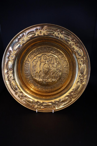 A Mid 19th Century Alms Dish of Repousse Brass