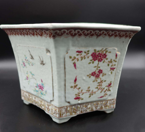 A Mid 19th Century Famille Rose Jardinière of Hexagonal Form