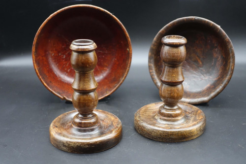 A Pair of Mid 20th Century Burr Bowls and Treen English Candlesticks