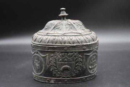 A Very Good George III Period Oval Lead Tobacco Box