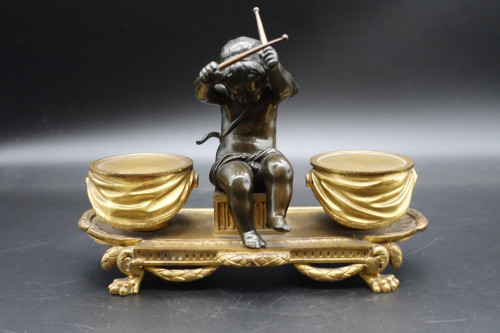 A Late 19th Century Heavily Cast Bronze and Gilt Bronze Inkwell