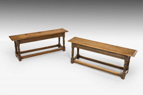 Pair of George I Oak Long Stools