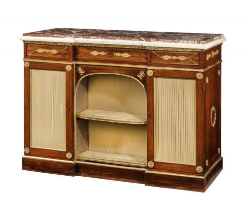 Regency Period Goncalo Alves Side Cabinet of Slightly Inverted Breakfront Form