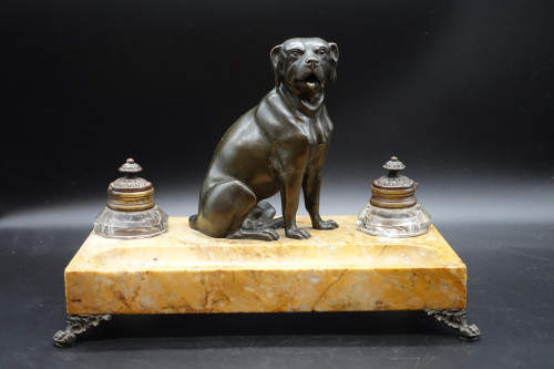 A Finely Modelled Late 19th Century  Ink Stand of a Seated Dog on a  Siena Marble Base