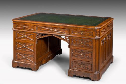 Very Fine Quality, Late 19th Century Gothic, Mahogany Desk