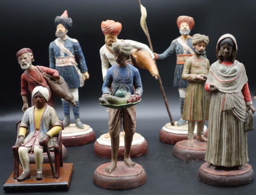 A Late 19th Century Group of Eastern Terracotta and Plaster Figures