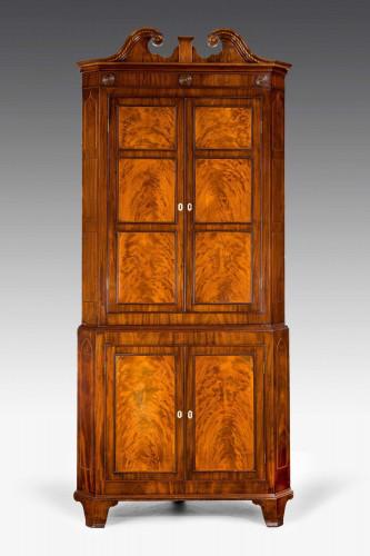 George III Period Mahogany Double Corner Cupboard