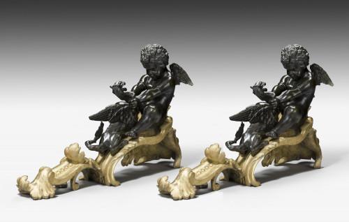 Pair of 19th Century Bronze and Gilt Bronze Chenet