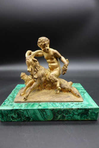 A Well Cast Late 19th Century Bronze Figure of a Putti Astride a Goat