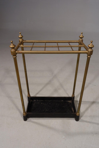 A Small Early 20th Century 10 Division Brass and Cast-Iron Stick Stand