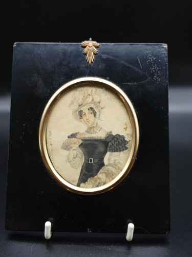 A Regency Period Miniature on Paper of a Young Lady