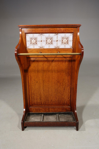 A Smart Late 19th Century Oak, Tiles and Brass 3 Division Stick Stand