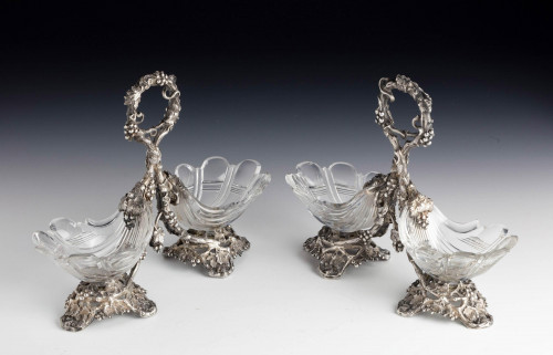 Attractive Pair of Late 19th Century Cut-Glass Table Salts