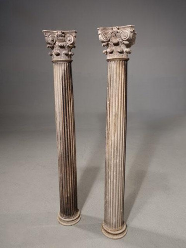 A Good and Well Formed Pair of Late 18th Century Carved Italian Marble Columns