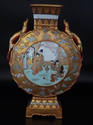 A Late 19th Century Kutani Porcelain, Moon Shaped Vase