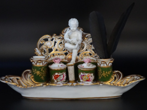 A Very Fine and Rare Late 19th Century Continental Porcelain Encrier
