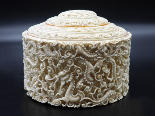A Very Finely Carved Early 20th Century Ivory Box
