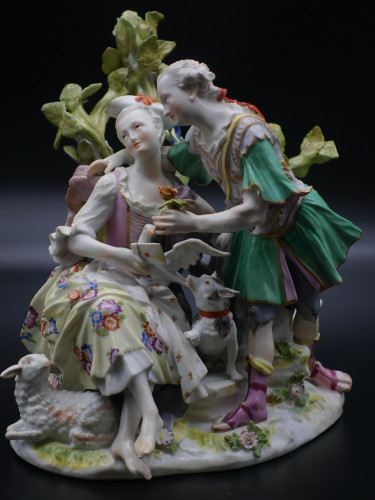 An Complex Late 19th Century Meissen Group of Lovers
