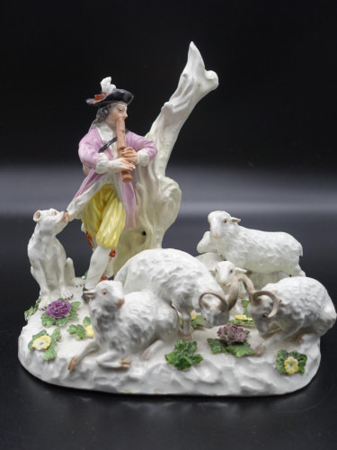 A Wonderful Quality Meissen Group of a Shepherd, His Dog and Flock