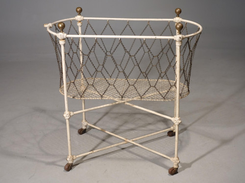 A Unusual Late 19th Century Continental Iron, Brass and Woven Wire Cradle