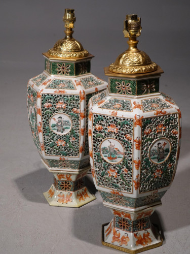 A Fine and Rare Pair of Famille-Verte Cantonese Porcelain Lamps