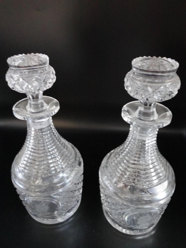 An Exceptional Pair of George V and Queen Mary Commemorative Cut Mallet Shaped Decanters