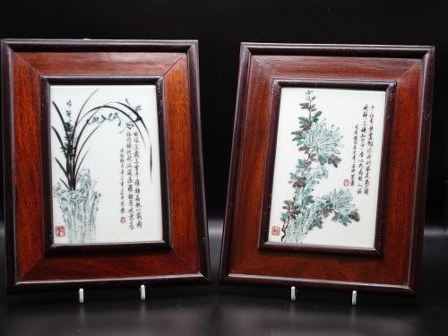 A Pair of Mid 20th Century Cantonese Porcelain Tablets