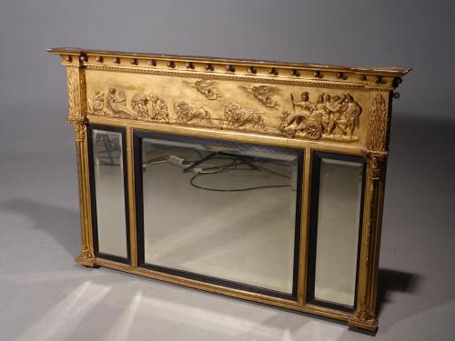 A Regency Period Three Part Overmantle Mirror