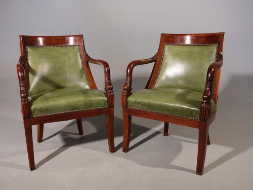 A Pair of Charles X Period Mahogany Framed Chairs