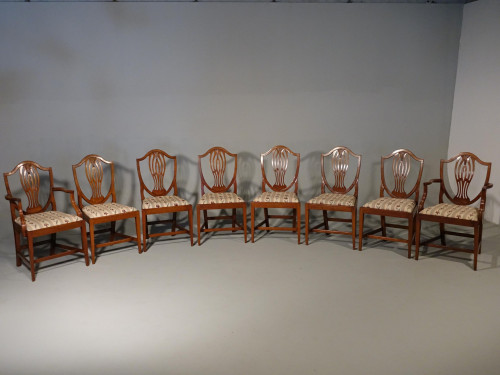 A Most Elegant Set of 8 (6+2) Early 20th Century  Walnut Framed Dining Chairs