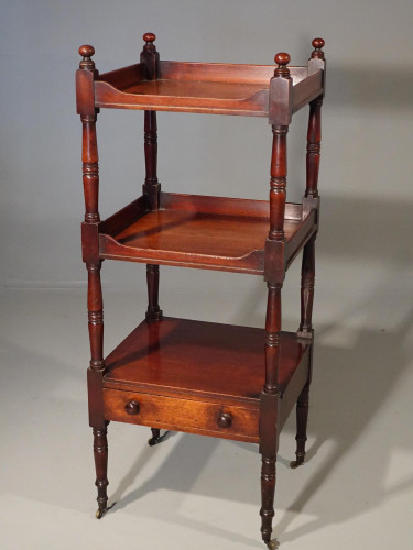 An Attractive Late Regency Mahogany Three-Tiered Whatnot