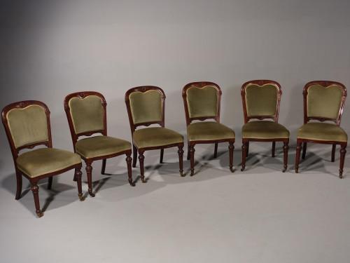 Doveston Bird & Hull. A Fine Set of 6 Mid 19th Century Mahogany Framed Chairs