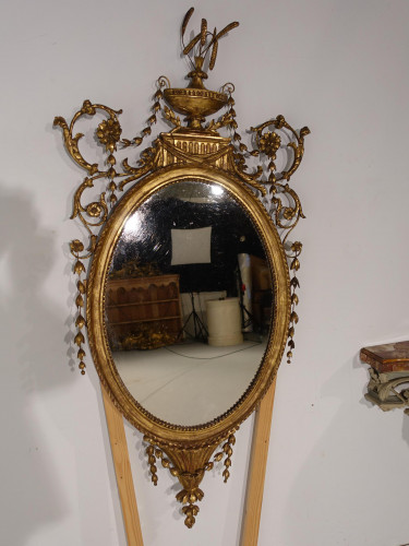 A Most Attractive Late 18th Century  Oval Giltwood Mirror