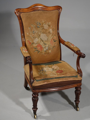 A Shapely Mid 19th Century Rosewood Armchair