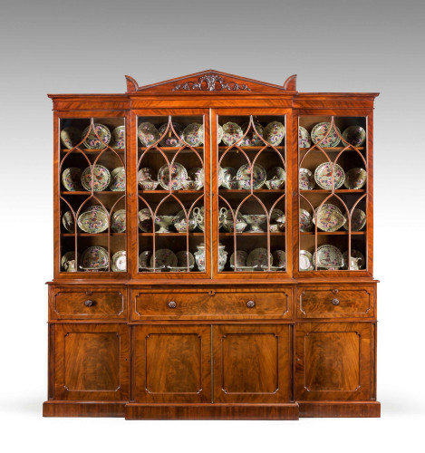 Regency Mahogany Library Breakfront Secretaire Bookcase attributed to Gillows of Lancaster