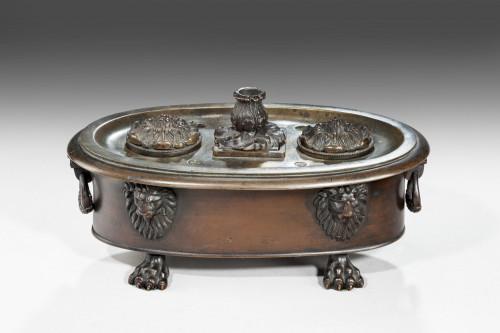 Regency Period Bronze Oval Encrier