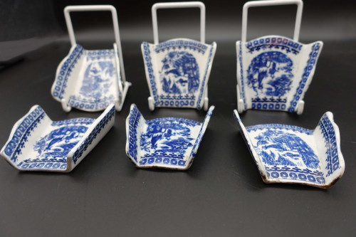 A Rare Set of 6 Late 18th Century Blue and White  Asparagus Rests