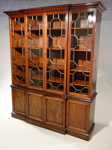 A Handsome George III Period Mahogany Breakfront Bookcase